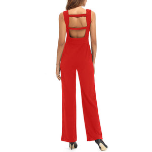 Sexy Deep V Collar Solid Color Sleeveless Jumpsuit With Pockets - lolabuy