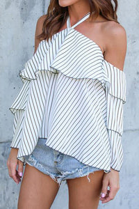 Halter  Striped  Bell Sleeve  Blouses
