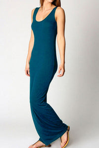 Scoop Neck  Plain Maxi Dresses