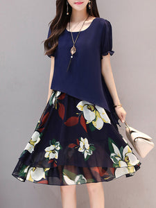 Round Neck  Floral Printed Chiffon Skater Dress - lolabuy
