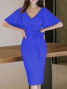 Surplice  Plain Bodycon Dress - lolabuy