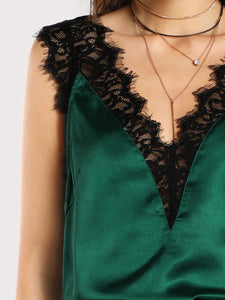 Summer  Polyester  Women  V-Neck  Decorative Lace  Plain  Sleeveless Blouses