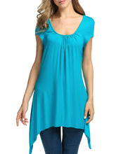 Summer  Rayon  Women  Round Neck  Asymmetric Hem  Plain Sleeveless T-Shirts - lolabuy