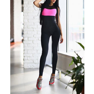 New Two-Color Stitching Fashion Tight Yoga Pants Jumpsuit - lolabuy