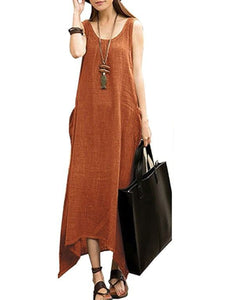 Round Neck  Asymmetric Hem Patch Pocket  Plain Maxi Dress - lolabuy