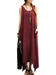 Round Neck  Asymmetric Hem Patch Pocket  Plain Maxi Dress