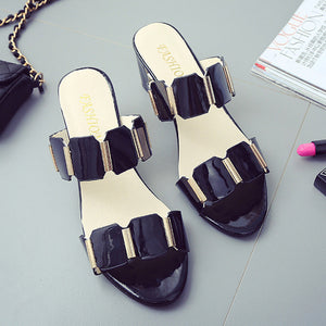Elegant Thick Heels Ladies Sandals Shoes - lolabuy