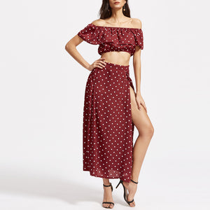 Bohemian Off-Shoulder Printing Two-Piece Vacation Dress - lolabuy