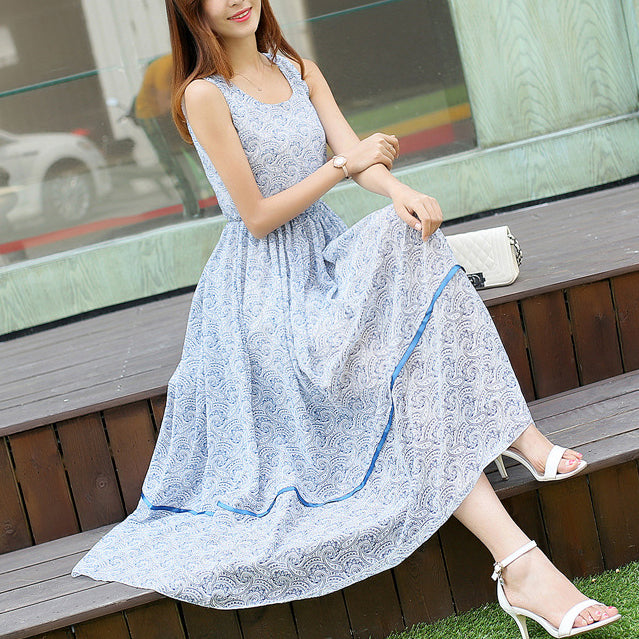 Bohemian Round Collar Printing Sleeveless Vacation Dress - lolabuy