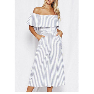 Classic Striped Round Collar Off Shoulder Jumpsuit - lolabuy