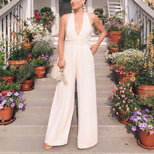Halter Pocket Plain Wide-Leg Jumpsuit - lolabuy