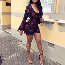 Sexy Floral Printed Short Jumpsuit - lolabuy