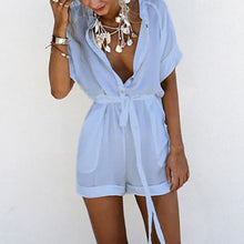 Casual V Collar Pure Color Jumpsuit - lolabuy