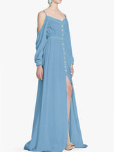 Spaghetti Strap  Elastic Waist  Decorative Button  Plain Maxi Dress - lolabuy