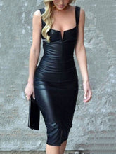 Elegant Black Sleeveless PU Bodycon Dress - lolabuy