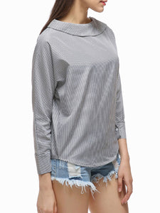 Autumn Spring  Polyester  Women  Boat Neck  Decorative Button  Striped  Long Sleeve Blouses - lolabuy