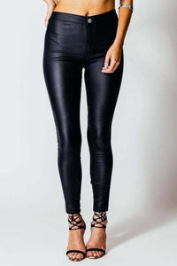 Sexy High Waist Pure Color Leather Pants - lolabuy