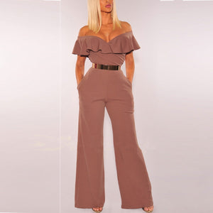 Sexy Lotus Leaf  V Collar Off Shoulder Jumpsuit - lolabuy