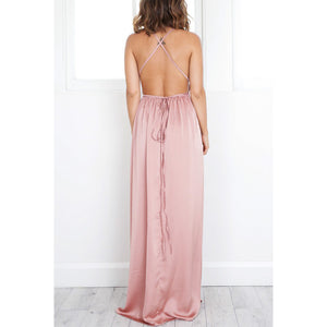 Deep V Neck  Asymmetric Hem Cross Straps  Belt Loops  Plain  Sleeveless Maxi Dresses - lolabuy