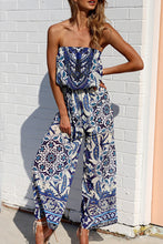 Off Shoulder  Elastic Waist  Abstract Print  Sleeveless Jumpsuits - lolabuy