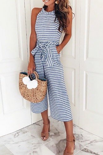 Striped Vacation Casual Jumpsuit - lolabuy