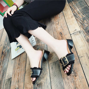 Fashion Pure Color Thick Heel Sandals - lolabuy