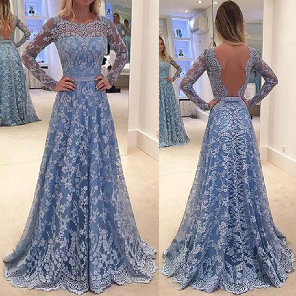 Elegant Lace Embroidery Long-Sleeved Open Back Long Evening Dress - lolabuy