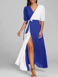 Surplice  Color Block Maxi Dress - lolabuy