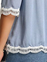 Spring Summer  Polyester  Women  Off Shoulder  Decorative Lace See-Through  Plain  Half Sleeve Blouses - lolabuy