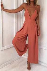 Women's New Sexy Halter Back Belt Jumpsuit - lolabuy