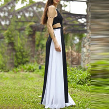 Black And White Stitching Square Collar Strap Sleeveless Open Back Dress - lolabuy