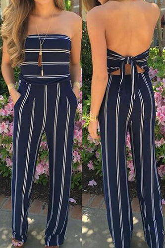 Blue Fashion Stripe Print Backless Jumpsuits - lolabuy