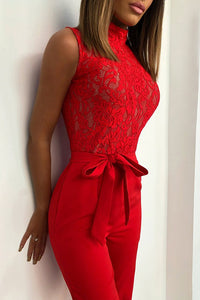 Red Long Sleeves Wide Leg Jumpsuits - lolabuy