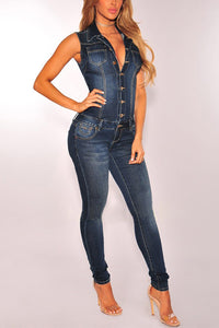 Fashion Casual Button Slinky Denim Jumpsuit In Blue - lolabuy