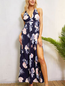 Sexy Deep V Neck Backless Floral Maxi Dress - lolabuy