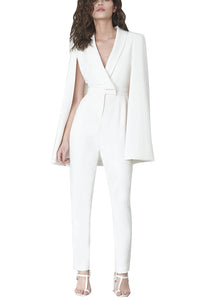 White Deep V Cape Sleeves Slinky Jumpsuit - lolabuy