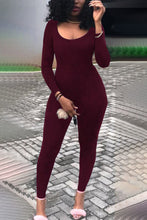 Sexy Fashion Long Sleeves Solid Color Jumpsuit - lolabuy