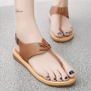 Plain  Flat  T Strap  Peep Toe  Beach Casual Sandals - lolabuy
