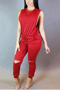Sexy Solid Color Sleeveless Jumpsuits - lolabuy