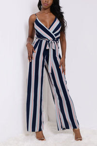 Sexy Fashion Sleeveless Striped Jumpsuit - lolabuy