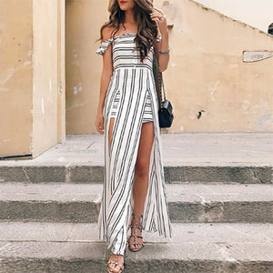 Striped Off-The-Shoulder Holiday Dress - lolabuy