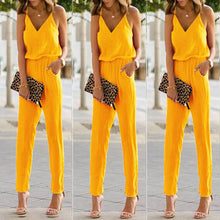 Fashion Pure Color Strap Sleeveless Jumpsuit - lolabuy