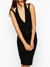 Deep V-Neck  Plain Bodycon Dress - lolabuy