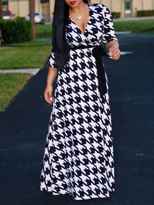 Deep V-Neck  Houndstooth Plus Size Dresses