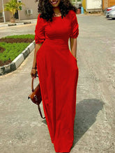 Round Neck  Plain Maxi Dress - lolabuy