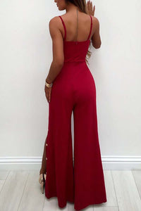 Sexy Deep V Split Flared Jumpsuit - lolabuy