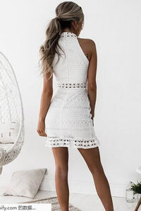 Sexy Elegant Lace Halter Neck Bodycon Dress - lolabuy