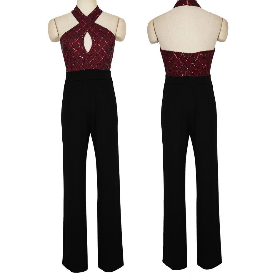 Sexy Split Joint  Sequins Backless Jumpsuit