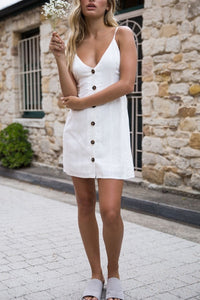 Spaghetti Strap  Backless  Decorative Buttons  Plain  Sleeveless Casual Dresses - lolabuy