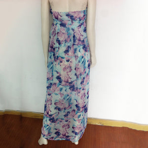 Printed Backless Tube Long Dress - lolabuy
